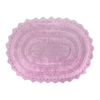Design Imports Reversible Crochet 17-Inch x 24-Inch Round Bath Mat in Mauve