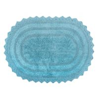 Design Imports Reversible Crochet 17-Inch x 24-Inch Round Bath Mat in Cameo Blue