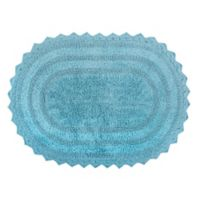 Design Imports Reversible Crochet 21-Inch x 32-Inch Round Bath Mat in Cameo Blue