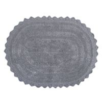 Design Imports Reversible Crochet 21-Inch x 32-Inch Round Bath Mat in Grey