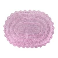 Design Imports Reversible Crochet 21-Inch x 32-Inch Round Bath Mat in Mauve
