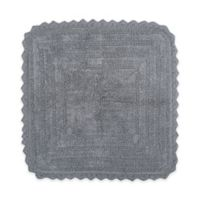 Design Imports Reversible Crochet 24-Inch Round Bath Mat in Grey