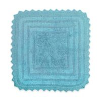 Design Imports Reversible Crochet 24-Inch Round Bath Mat in Cameo Blue