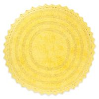 Design Imports Reversible Crochet 28-Inch Round Bath Mat in Yellow