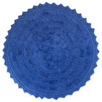 Design Imports Reversible Crochet 21-Inch x 32-Inch Round Bath Mat in Blueberry