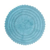 Design Imports Reversible Crochet 28-Inch Round Bath Mat in Cameo Blue
