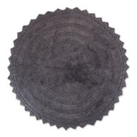 Design Imports Reversible Crochet 28-Inch Round Bath Mat in Grey