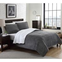 Cable Plush Reversible King Quilt Set in Grey