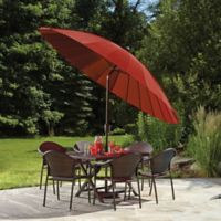 10-Foot Round Zinc Alloy Shanghai Umbrella in Salsa