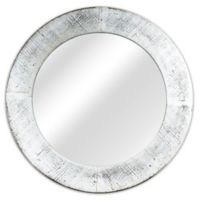 34-Inch Round Rustic Mirror in White