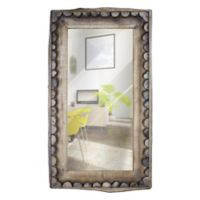 Scalloped Wood 38.5-Inch x 22-Inch Rectangular Wall Mirror in Brown