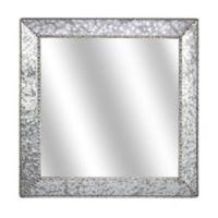Thin Galvanized Metal 22-Inch Square Wall Mirror in Silver