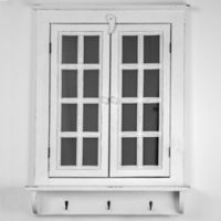 29.5-Inch x 22.25-Inch Window Shutter Mirror with Key Hooks