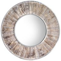 Crystal Art Rustic Whitewash Round Wall Mirror in Brown