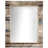 Rustic Wood Paneled 35.75-Inch x 29.75-Inch Wall Vanity Mirror