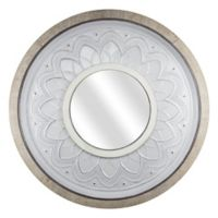 Farmhouse Floral 36.5-Inch Round Wall Mirror in Silver