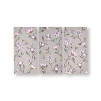 Graham & Brown Flowers 11.81-Inch x 23.62-Inch Framed Wrapped Canvas in Grey Set of 3