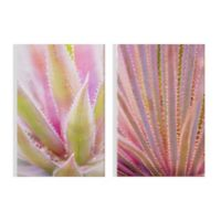 Graham & Brown Leaves 16-Inch x 24-Inch Framed Wrapped Canvas in Pink Set of 2