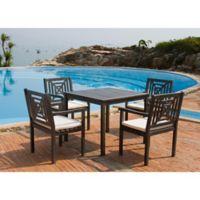 Safavieh Del Mar 5-Piece Outdoor Dining Set in Ash Grey/Beige