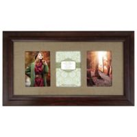 Burlap Mat 5-Inch X 7-Inch 3-Photo Frame in Walnut