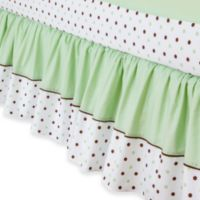 TL Care® Cotton Crib Skirt - Celery Dot