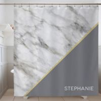 Faux Marble Personalized Shower Curtain