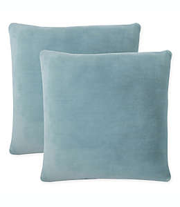 Purely Soft Cojines decorativos lisos en azul spa, Set de 2