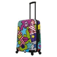 Mia Toro ITALY Stars and Kisses 24-Inch Hardside Spinner Checked Luggage