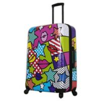 Mia Toro ITALY Stars and Kisses 28-Inch Hardside Spinner Checked Luggage