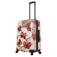 Mia Toro ITALY Ricci Butterflies 24-Inch Hardside Spinner Checked Luggage