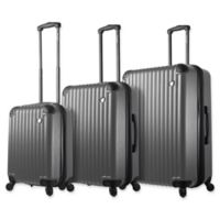 Mia Toro ITALY Rotolo 3-Piece Hardside Spinner Luggage Set in Silver
