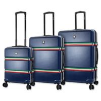 Mia Toro ITALY Nastro 3-Piece Hardside Spinner Luggage Set in Navy