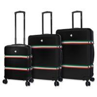 Mia Toro ITALY Nastro 3-Piece Hardside Spinner Luggage Set in Black