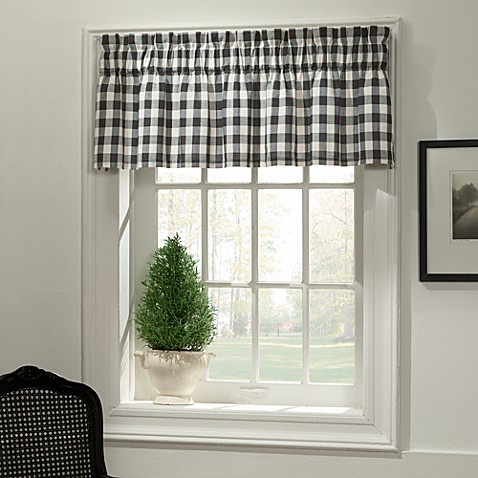 Classic Check Bath Window Curtain Valance in Denim