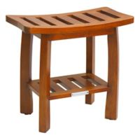 Oceanstar Solid Wood Spa Storage Bench in Teak Color Finish