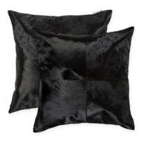 Torino Quattro Square Throw Pillows in Black (Set of 2)
