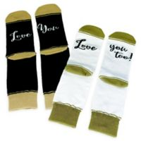 Lillian Rose™ 2-Piece Love You & Love You Too Socks in White/Black