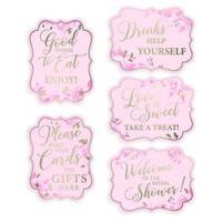 Lillian Rose™ 5-Piece Bridal Shower Sign Set in Gold/Pink