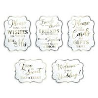 Lillian Rose™ 5-Piece Wedding Sign Set in Gold/White
