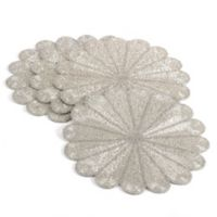 Saro Lifestyle Flower Beaded Placemats in Silver (Set of 4)