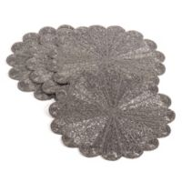 Saro Lifestyle Flower Beaded Placemats in Pewter (Set of 4)