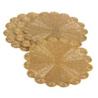 Saro Lifestyle Flower Beaded Placemats in Gold (Set of 4)