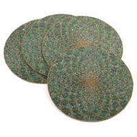 Saro Lifestyle Belagavi Beaded Placemats in Teal (Set of 4)