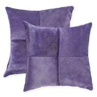 Torino Quattro Square Throw Pillows in Purple (Set of 2)