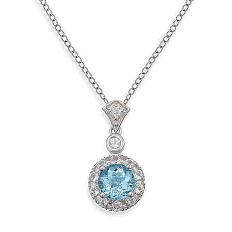 Badgley Mischka® Sterling Silver Necklace with Blue and White Topaz Pendant