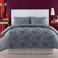 Christian Siriano Pretty Petals Full/Queen Duvet Cover Set in Grey