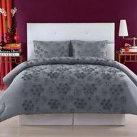 Christian Siriano Pretty Petals King Duvet Cover Set in Grey