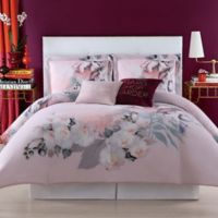 Christian Siriano Dreamy Floral Full/Queen Comforter Set in Pink