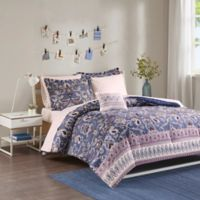 Intelligent Design Calico Reversible 6-Piece Twin Comforter Set in Purple