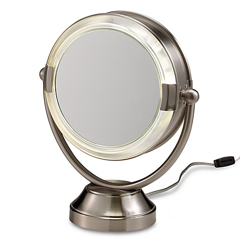 illuminated magnifying mirrors for bathrooms floxite fluorescent lighted cosmetic 8x 1x magnification 23527
